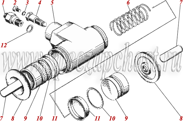 Цилиндр рабочий тормозной 200.03.06.03.000